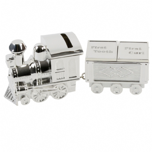 Baby's Silver Plated Train Money Box with First Tooth and First Curl Carriages - Christening Gift